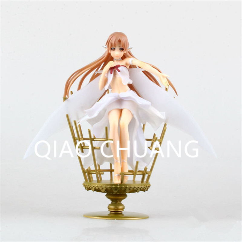 Game Anime Sword Art Online ALO Birdcage Online Game Player Yuuki Asuna Fairy Queen 22CM PVC Action Figure Model Toy G809