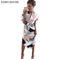 YJSFG HOUSE Elegant Women Tunic Evening Party Dresses Summer Short Sleeve Irregular Boho Beach Dress Sexy Print Midi Robe Femme
