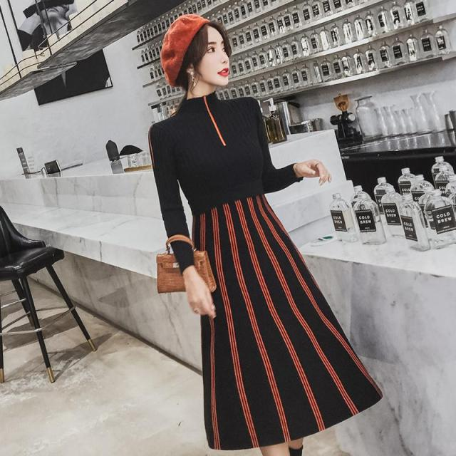 719e5d0e1c92e ... FINEWORDS Autumn Knit Long Winter Dresses Women Luxury Slim Turtleneck  Knitted Sweater Dress Office Lady Korean ...