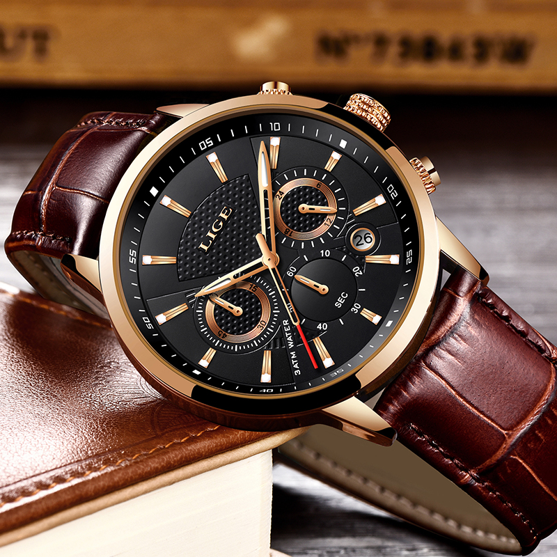 Image 2 - Reloje 2019 LIGE Men Watch Male Leather Automatic date Quartz Watches Mens Luxury Brand Waterproof Sport Clock Relogio Masculino-in Quartz Watches from Watches