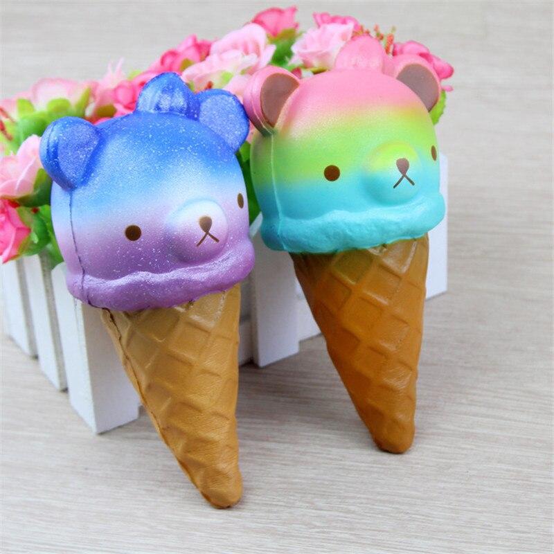 Zhenwei Squishy Toys Slow Rising Icecream Bear Jumbo Squishi Squeeze Toy Squishes No Sound Decoration Kindergarten
