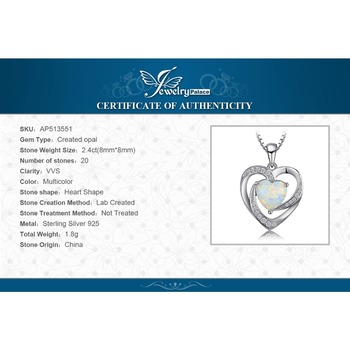 Heart Created Opal Pendant Sterling Silver Gemstone Statement Necklace  5