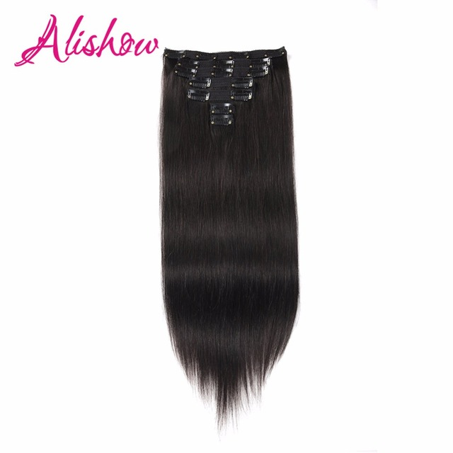 Alishow Clip In Hair Extensions 18 24 100 Real Human Hair 7pcs