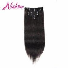 Alishow Clip In Hair Extensions 18″-24″ 100% Real Human Hair 7Pcs 120g/Set #1B Natural Black Clip Remy Hair Straight Dark Brown