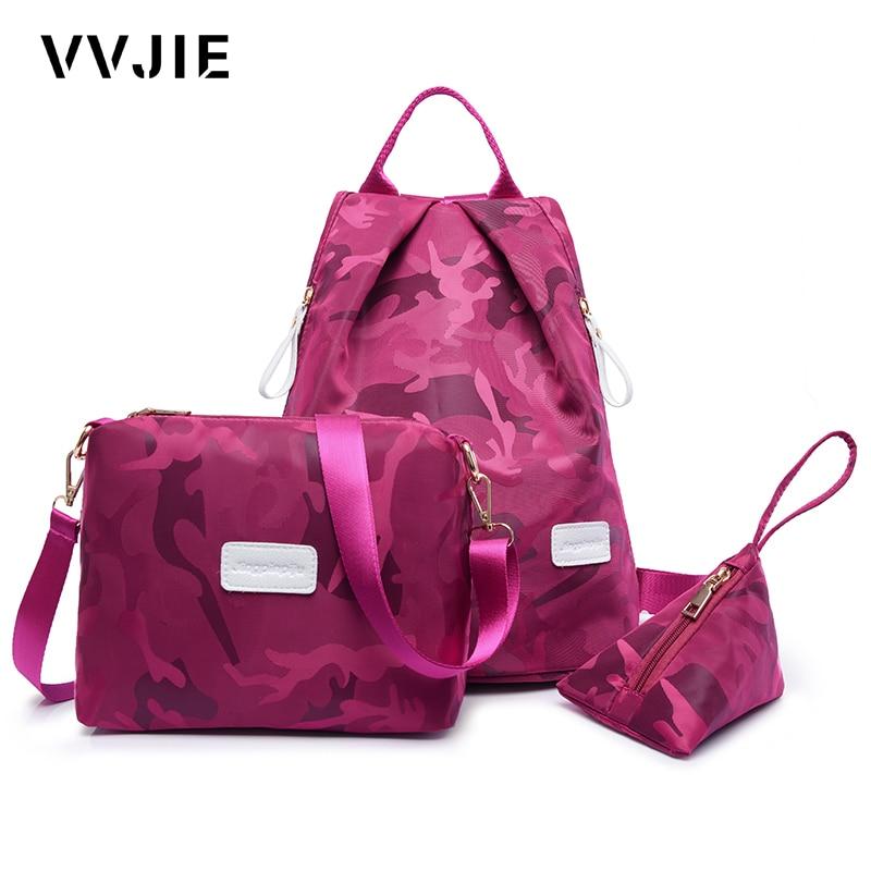 Vvjie Brand Casual Women Nylon Backpack 3 Pcs/set  Black School Bags For Girls Teenage Female Travel Bag Back Pack