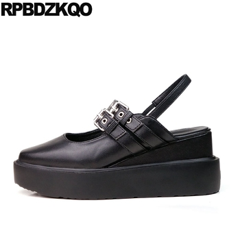 ladies thick sole slingback chinese creepers platform shoes wedge summer women elevator muffin metal black square toe size 33