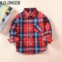 AJLONGER/рубашки для мальчиков и девочек; Детские рубашки в клетку в британском стиле; детская блузка; топы; детская одежда в клетку