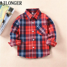 AJLONGER Boys Shirts For Girls British Plaid Child Kids Blouse Tops Clothes Children