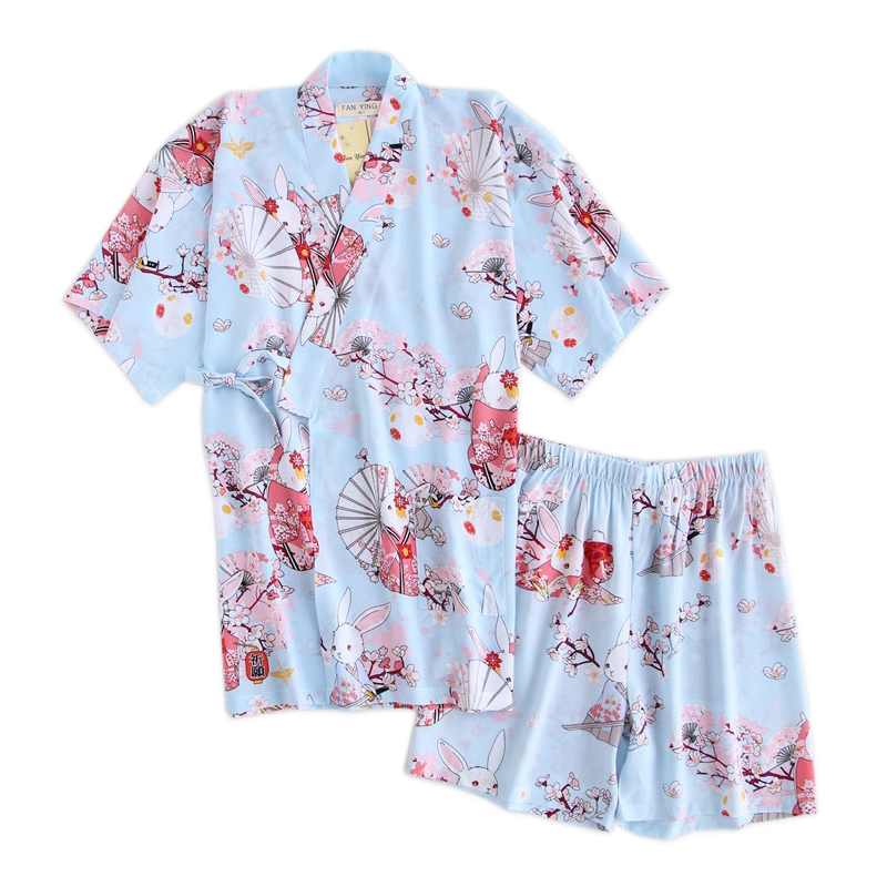 Summer Cute cherry rabbit kimono robe   sets   women 100% Rayon japanese sweet pijama fresh sleepwear women   pajamas     sets