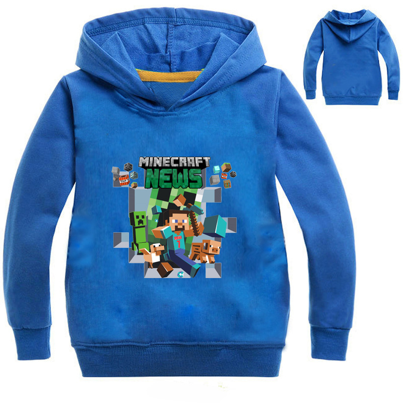 Kid's Boys Minecraft Adventure Hoodies 2017 Autumn Cartoon Run Away Long Sleeve Sweatshirts Girls Cotton Fashion Tops age 3-13y