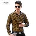 Ismen мужская рубашка с длинным рукавом мужской деловой свободного покроя выдалбливают мода формальные рубашки тонкий Masculina Camisa