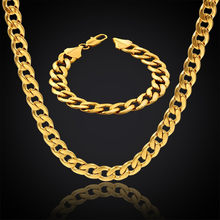 New Style Cuban Link Chain Necklace & Bracelet Set For Men Gift Wholesale African Dubai Gold Color Stainless Steel Jewelry Sets(China)