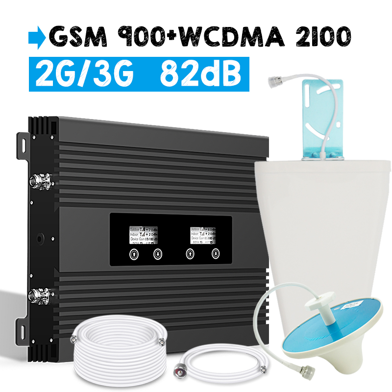 Walokcon 900 2100 Dual Band Mobile Signal Repeater 2G 3G Cellular Signal Booster Amplifier GSM 900 / WCDMA UMTS 2100 MHz B1 B3