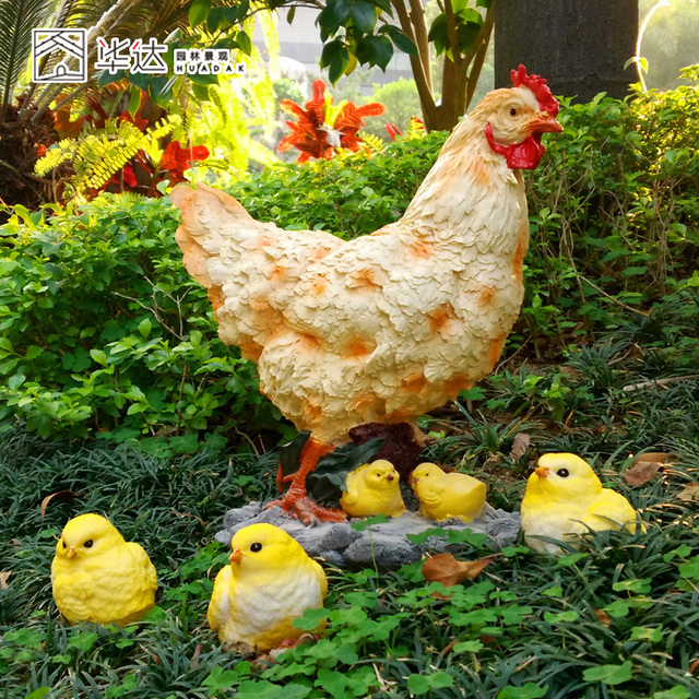 Outdoor Small Animal Decoration Resin Craft Of Chickens Decoration  Sculpture Garden Ornaments And Hen Craft For