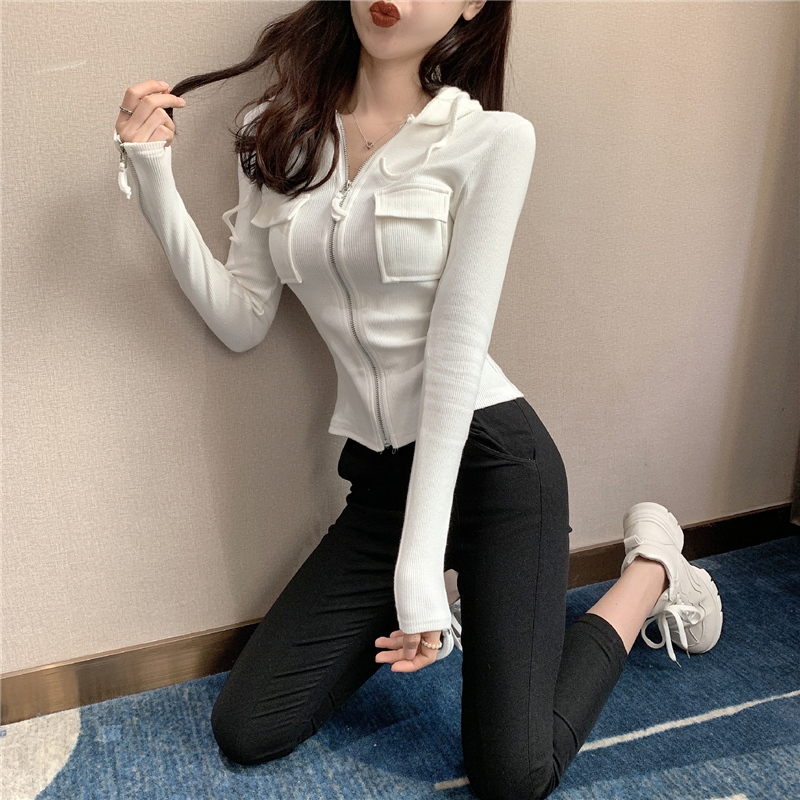 2019 Spring and summer Women's Clothing Jackets new coats and jackets women full vintage solid pockets Simple slim zipper 18