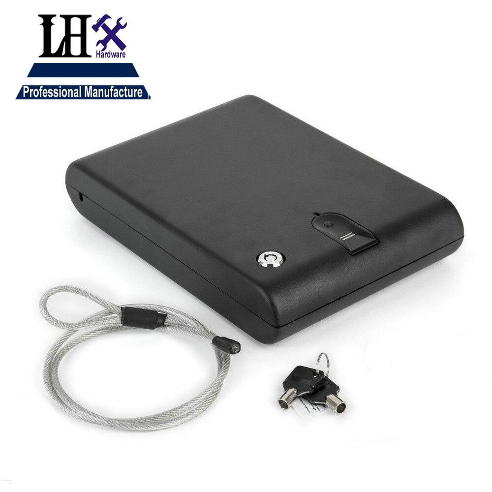lxh os120b biometric safe box solid steel key gun vault valuables box cable portable bio - Biometric Safe