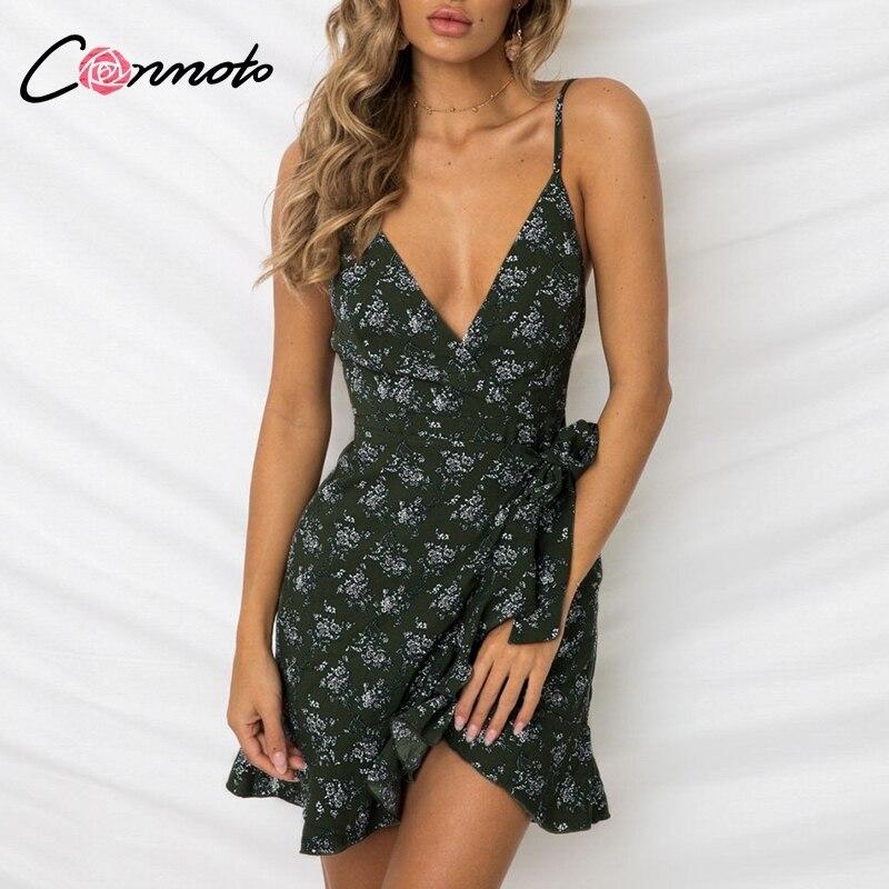 ba66ef878c30c51 Conmoto 2019 летнее сексуальное платье с v-образным Вырезом На Бретельках  короткое платье женское повседневное