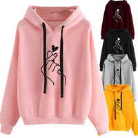 Women Hoodies Casual Kpop Finger Heart Love Pattern Hooded Sweatshirts Fashion Drawstring Long Sleeve Female Pullovers Plus Size