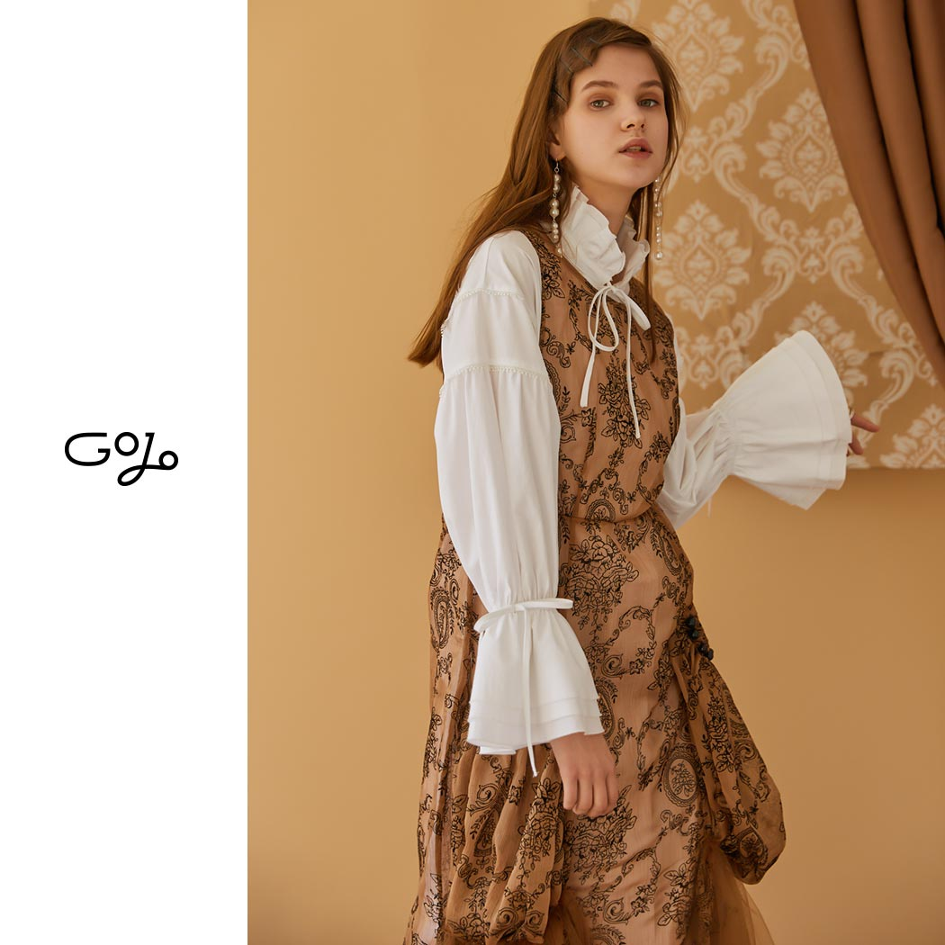 Brown Robe Designer Féminine Sirène Sans 2018 Midi Mode Robes D'impression Baroque Manches Gothique Femmes Printemps Maille Nanastyle IBawZ