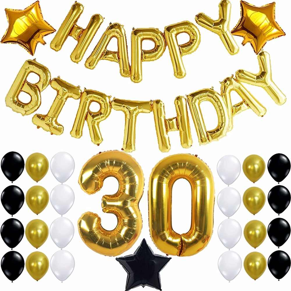 Detail Feedback Questions About 30th Birthday Party Decoration 30 Years Balloon Supplies 50th For Him Her Photo Backdrop Golden Black Banner