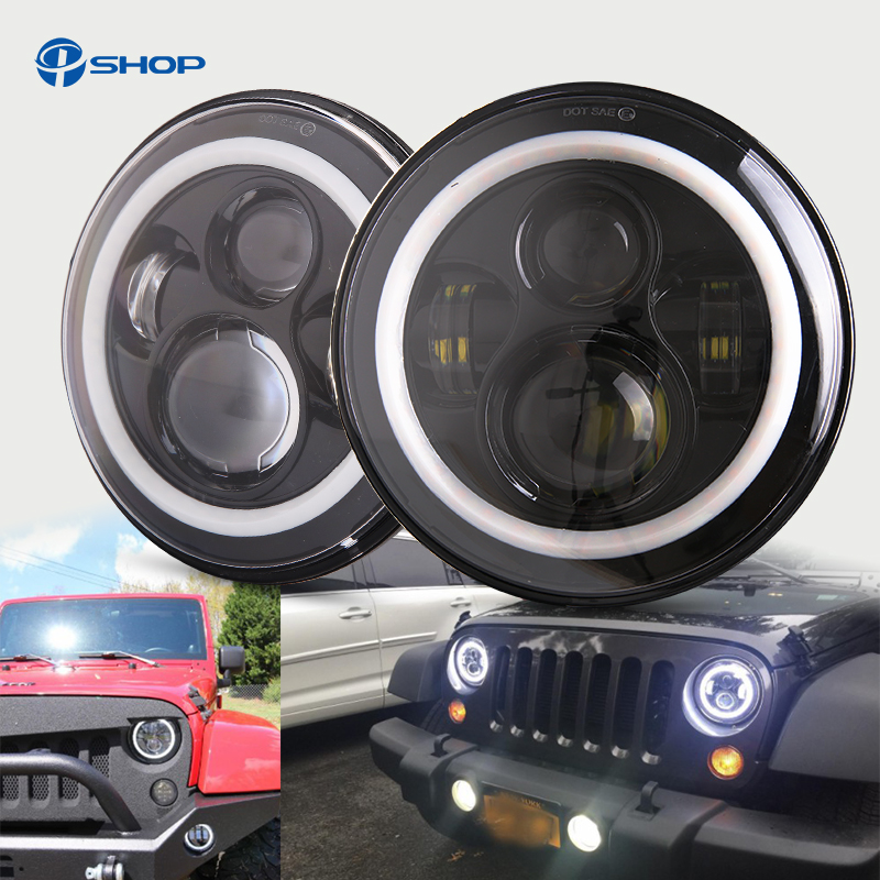 Pair For Harley JK Wrangler TJ 7 Inch Round LED Headlight White Halo Angel Eye / DRL Yellow Turn Signal LED Projection Daymaker pair j222 7   inch round led headlight