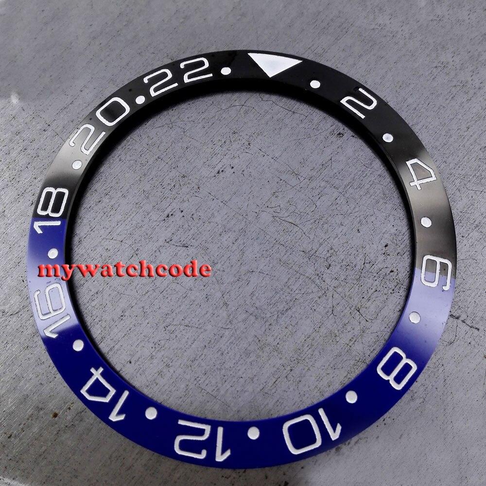 38mm schwarz und blau keramik lünette einsatz für 40mm GMT unter herrenuhr