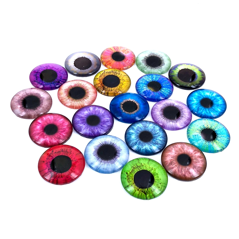 40pcs/lot 10mm 12mm 14mm 16mm Round Pupil Eye Pattern Glass Cabochon For DIY Jewelry Making Findings & Components T014
