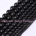 "Natural Black Obsidian Round Gem Stone Beads Strand 15""4,6,8,10,12mm For DIY Necklace  Bracelat Jewelry Making 15"",Free Shipping"