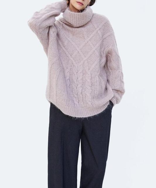 8f07be90cb2 LIMITED EDITION MAUVE CABLE-KNIT WOOL SWEATER Roll neck long sleeves  Fashion LIGHT PURPLE LOOSE Jumper Pullovers top