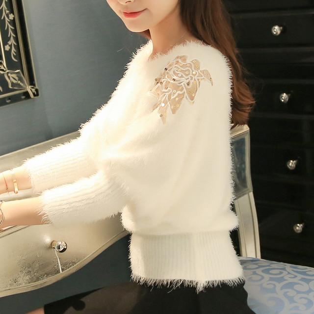 Autumn Batwing Sweaters Women Mohair Sweater Butterfly Embroidery Pullover Knitted Shirt 2019 Winter Sequin Mesh Pull Femme Tops