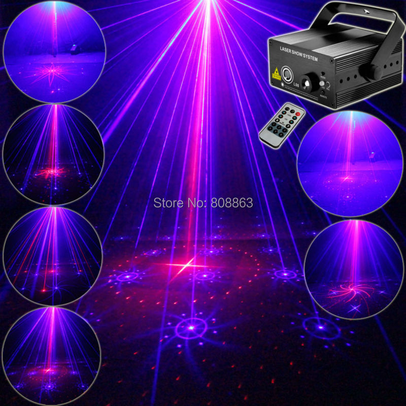 Mini 300mw Blue Red Laser 16 Patterns Projector Led Remote DJ Lighting Dance Xmas Disco Club Home Party Stage Light Show LB16 new mini red blue line pattern gobo remote laser projector dj club light dance bar party xmas disco effect stage lights show b55