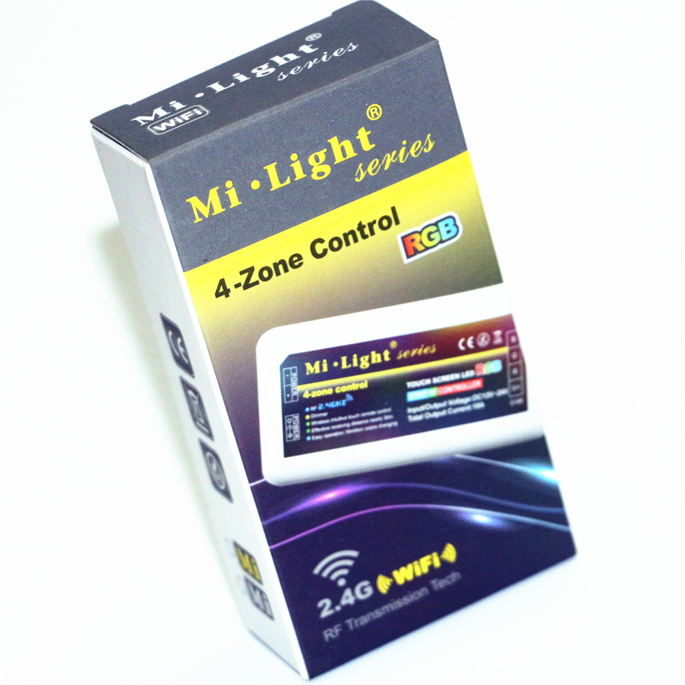 Mi luz dc12v 24v 2.4g sem fio rf led rgb controle remoto + 4 pcs 3 Way Canal 4 Zonas 18A Controlador + 1 Pcs 5 V Controlador WiFi Caixa - 5