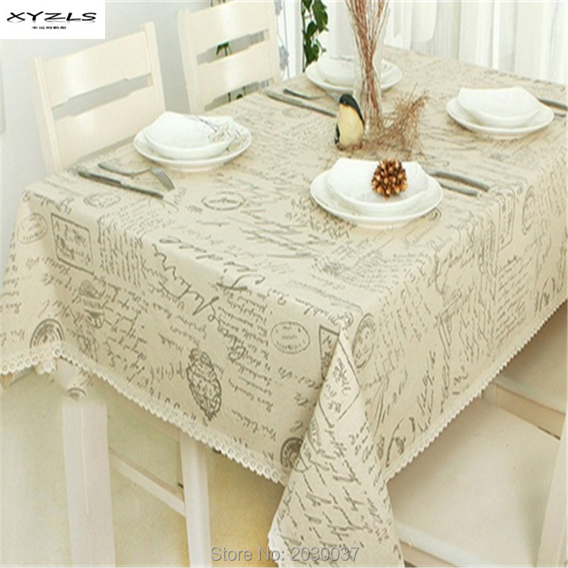 XYZLS Europe Style New Fashion Linen Lace Tablecloth Square Table Cloth  Letters Print Kitchen Dining Table Cover Free Shipping