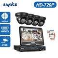"""Sannce 8ch 720 p dvr segurança com build-in de 10.1 """"lcd monitor e (4) vigilância 1.0mp câmeras com fio"""
