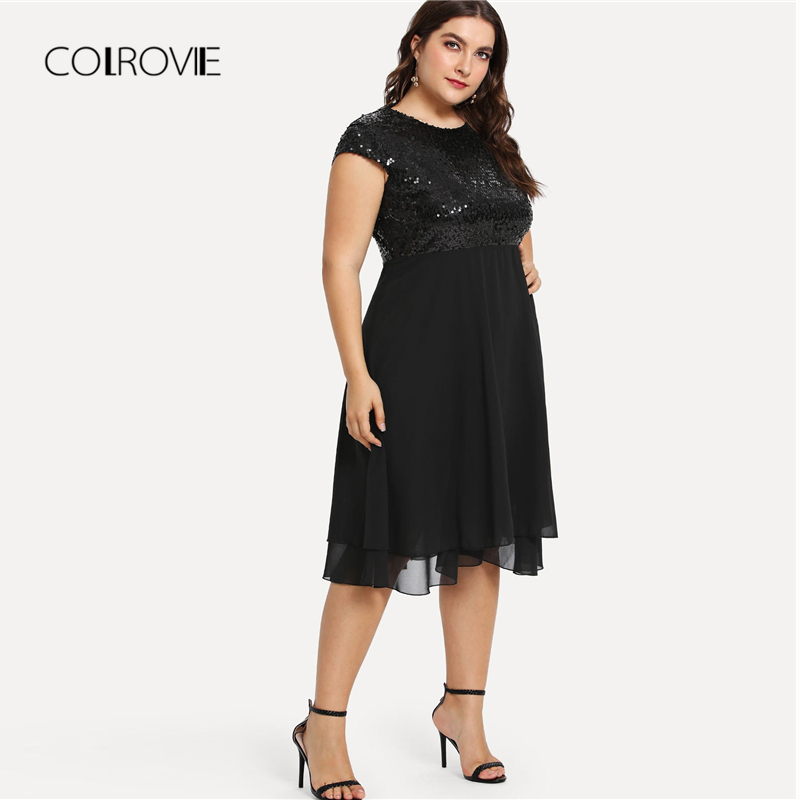 COLROVIE Midi Dresses ขนาดสีดำสูงเอว