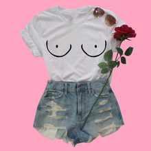 7f16a1e41bc6e EnjoytheSpirit Women T Shirt Funny Fake Boobs Printing Feminist Tshirt Anti  Bra Person Crewneck Short Sleeve Cotton Top