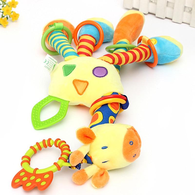 Wholesale High Quality Unisex Toys Cute Kids Soft Giraffe Plush Baby Animal Model Handbells Rattle Handle Developmental Stuffed