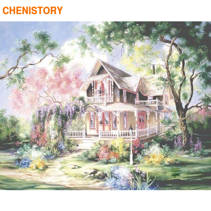 CHENISTORY Fairyland Villa 풍경 DIY Painting By Numbers Kit 손으로 그리는 유화 현대 벽 Art Canvas 40x50 센치 메터 Artwork