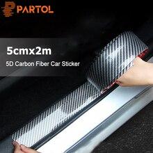 Partol 5cm x 2m pegatina de coche 5D fibra de carbono goma estilo protector de alféizar de puerta de coche cubierta antiarañazos para Auto Cabeza trasera