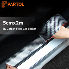 Partol 5cmx2m Car Sticker 5D Carbon Fiber Rubber Car Styling Auto Door Sill Protector Cover Anti Scratch For Auto Head Rear
