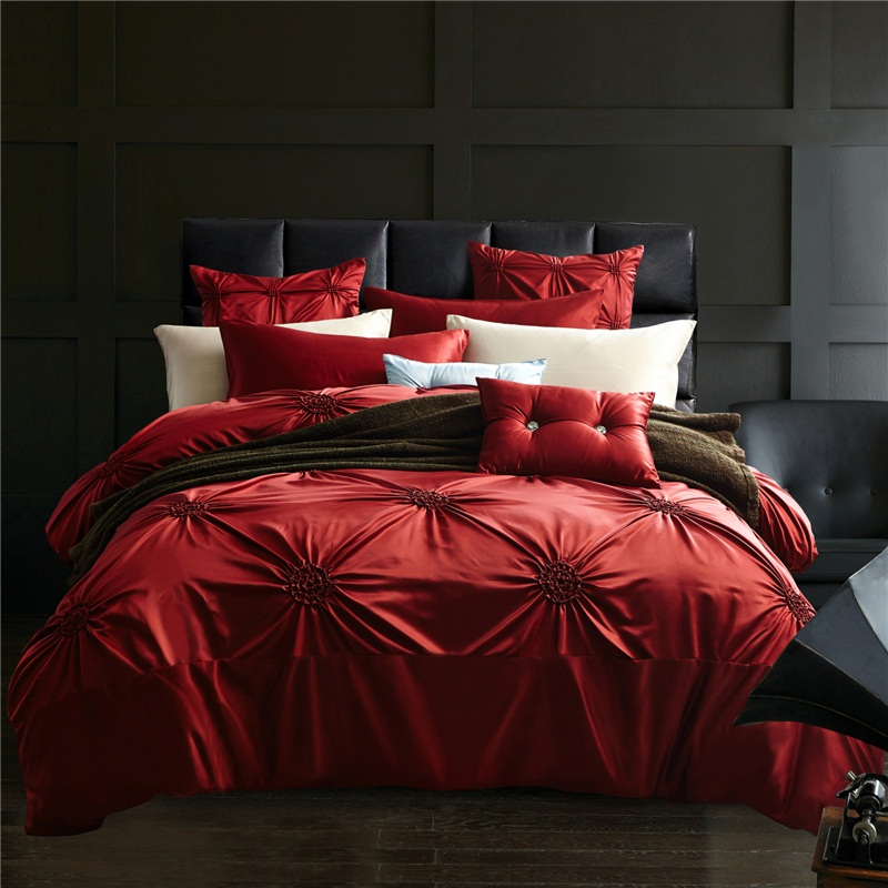 red silk cotton luxury bedding set queen  king size bed set