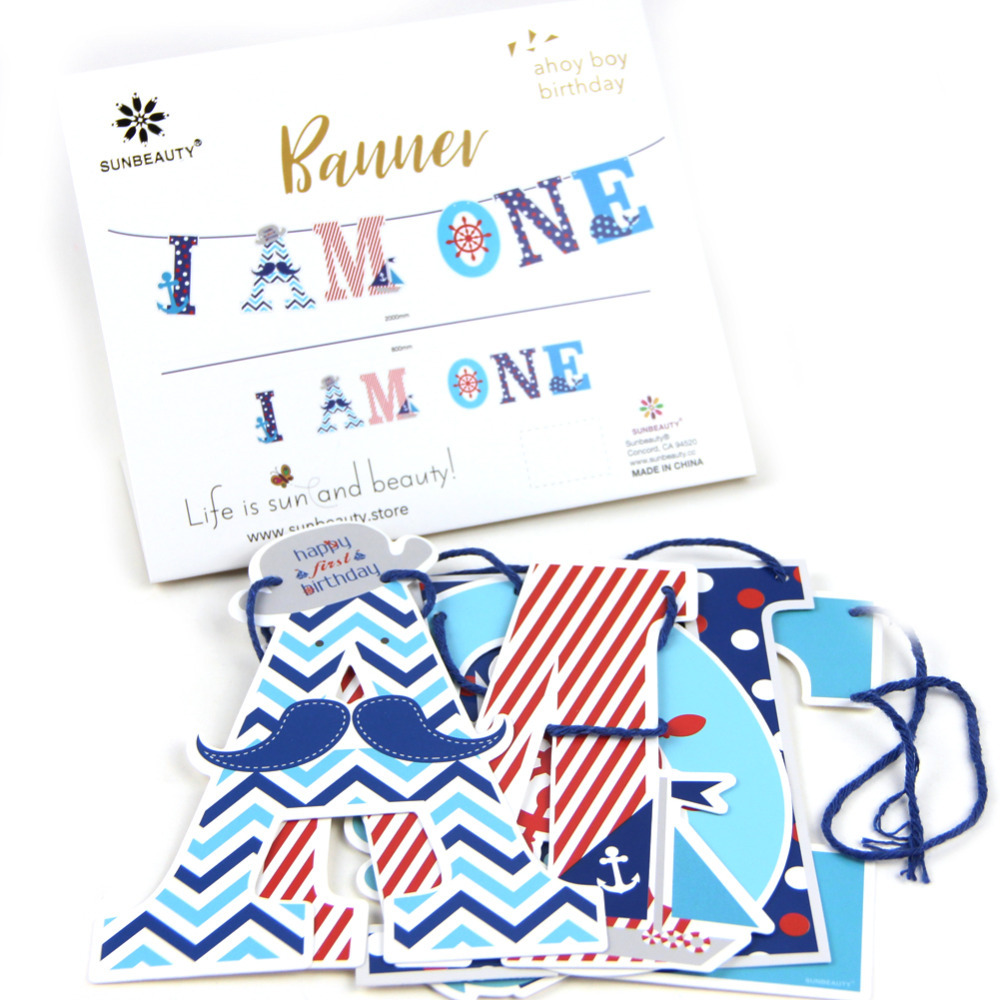 1.2m/4ft I AM ONE High Chair Banner Bunting Garland Nautical Theme Party 1st Birthday Baby Boy Party Banner Photo Prop Birthday