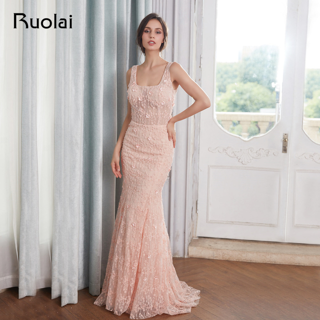Sexy Mermaid Evening Dresses 2018 Square Neck Flower Beaded Lace Prom Dress 2018 Long Evening Gown Vestido de Fiesta RE20