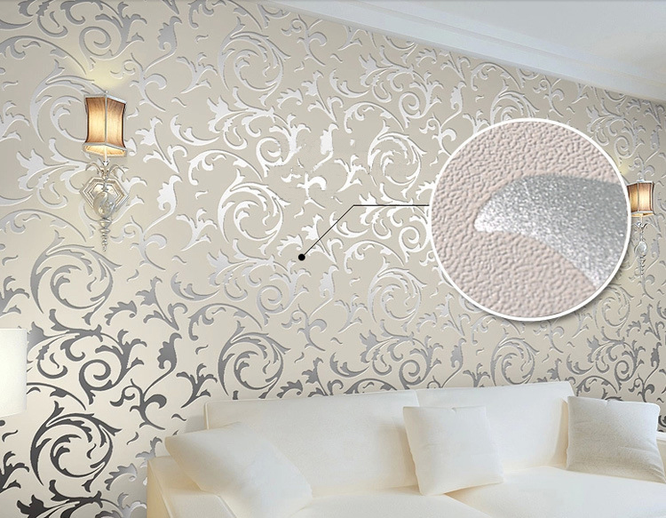 Photo collection silver and grey modern wallpaper for Grey silver wallpaper living room