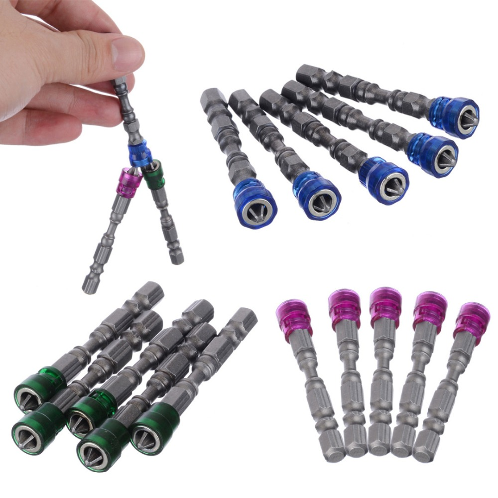 5Pcs Single Head  Magnetic Screwdriver Bit Anti-Slip Hex S2 PH2 Electric Screw Driver Set For Power Tools