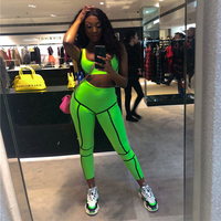 KGFIGU two piece set tracksuit women 2019 Summer New Arrivals Fashion style neon green tank tops and pants matching sets outfits