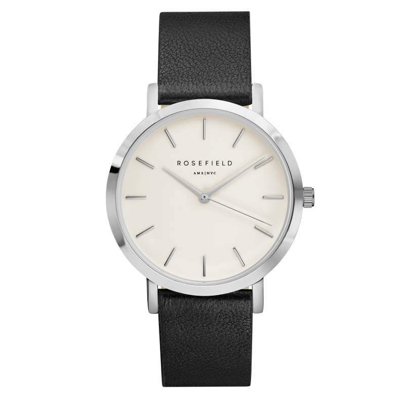 Ladies Ultra-Thin Watch - silver - black leather strap