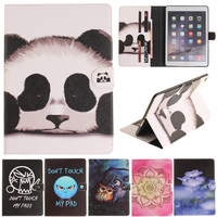 Cantoon Panda Owl Flower Painted Flip PU Leather sFor iPad Air 2 ipad6   Case   For Apple iPad Air2 iPad 6   Tablet     Case   Cover Shell