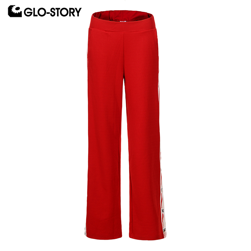 GLO-STORY 2018 Fashion Autumn Women   Wide     Leg     Pants   Sports   Pants   with Tape Trousers for Women Female   Pants   WRT-7475