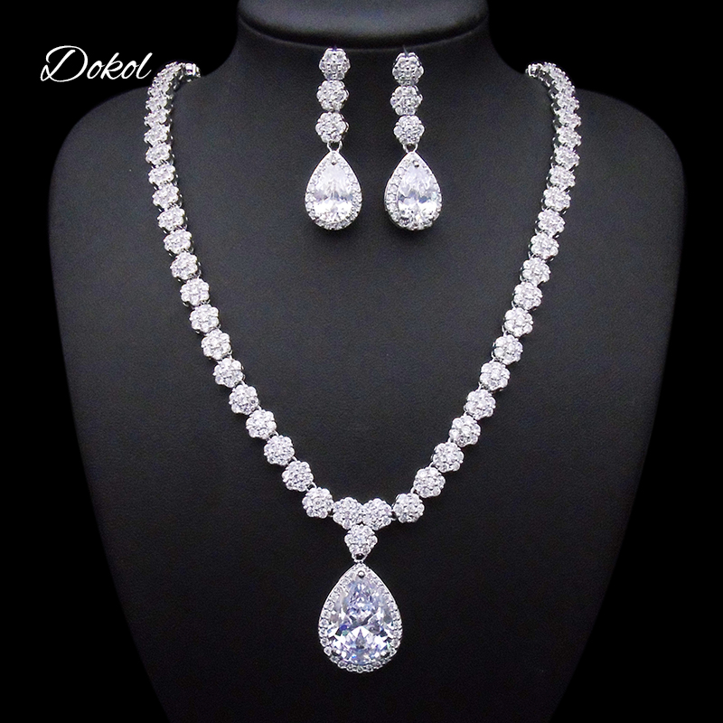 DOKOL Round & Pear Cut Zircon Bridal Jewelry Sets Big AAA+ CZ Stone Elegant Wedding Necklace Earrings Sets for Women DKS0059